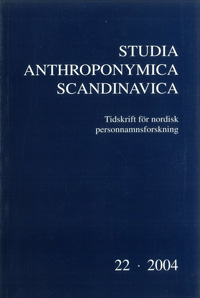 Studia Anthroponymica Scandinavica 2004