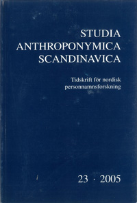 Studia Anthroponymica Scandinavica 2005